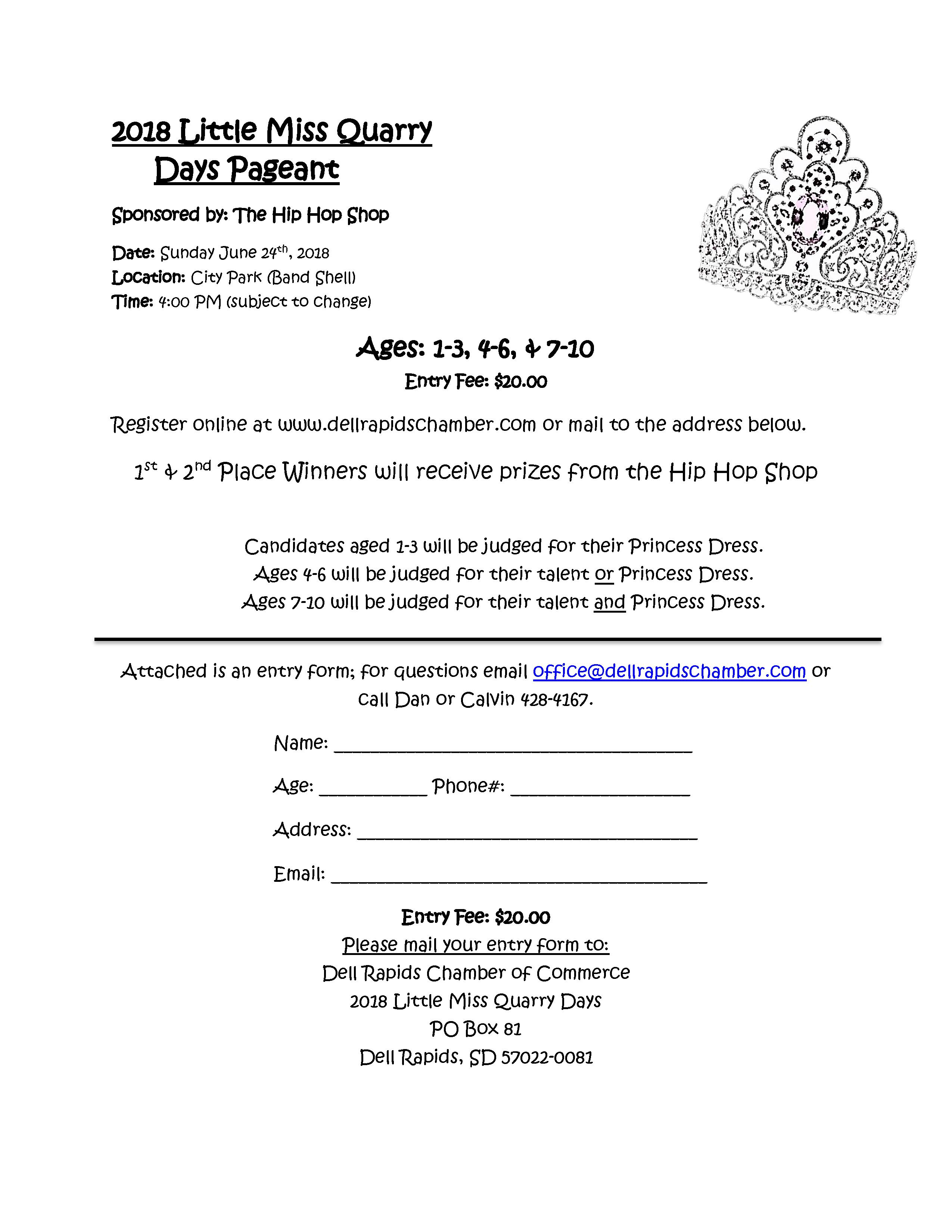 Little Miss Quarry Days Pageant 2018 Sign Up Registration Dell Rapids South Dakota Dell Rapids Chamber of Commerce