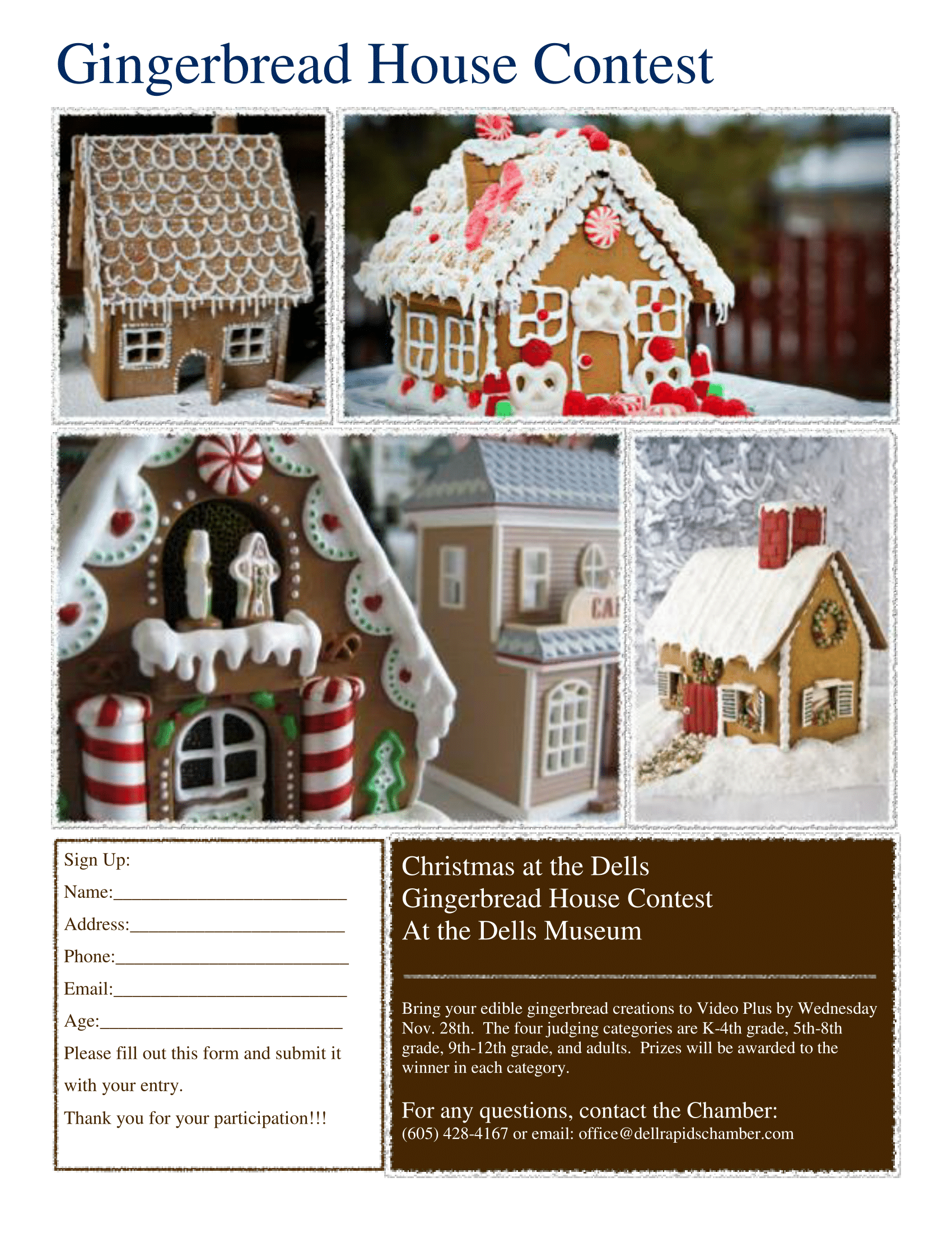 Gingerbread House Contest dell rapids chamber of commerce dell rapids south dakota 2018