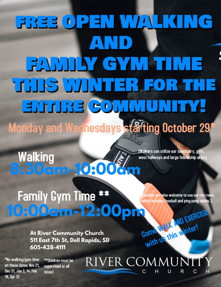 free open walking and family gym time River Community Church dell rapids sd south dakota