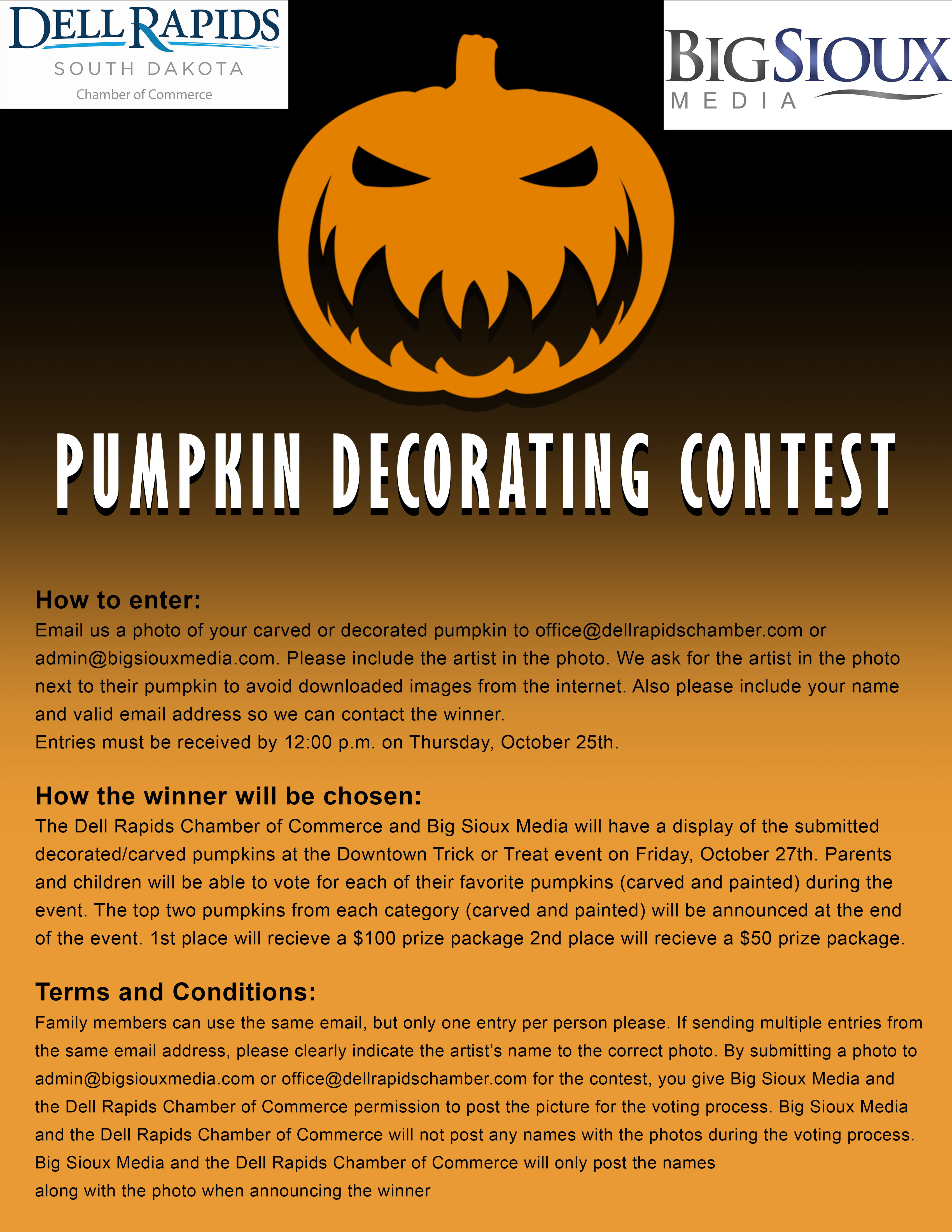 Pumpkin Decorating Contest 2018 Big Sioux Media and Dell Rapids Chamber of commerce