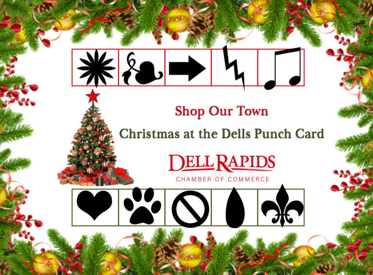 HOLIDAY PUNCH CARD front completed example image 2018 Dell Rapids South Dakota Chamber of Commerce