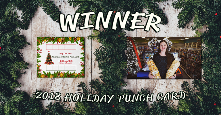 Dell Rapids Chamber of Commerce Holiday Punch Card 2018 Winner $400 in gift cards