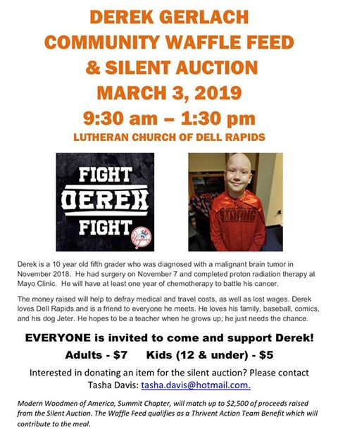 Derek Gerlach Community Waffle Feed and Silent Auction
