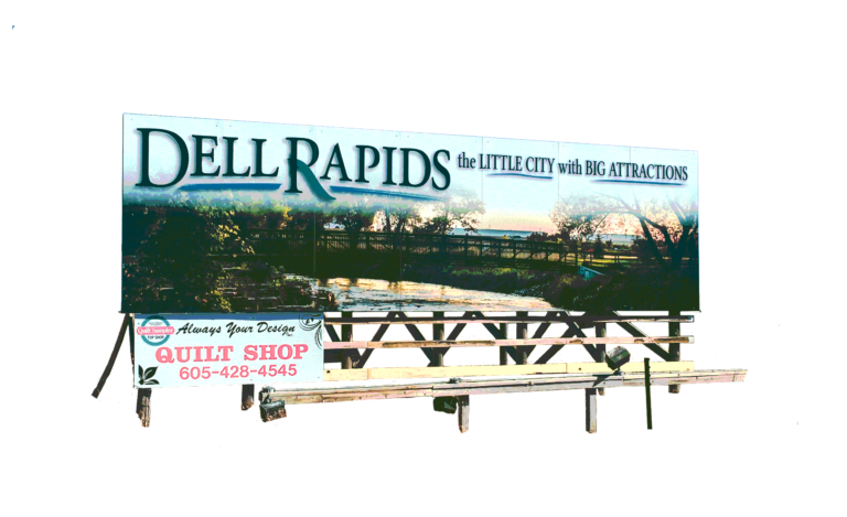 Chamber billboard on interstate I-90 heading north dell rapids south dakota