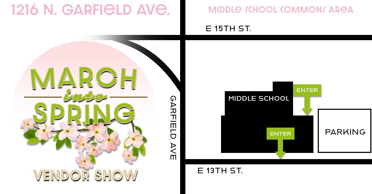 March Into Spring Vendor Show Parking Map 2019 1216 N. Garfield Ave Dell Rapids South Dakota Middle School Commons Area