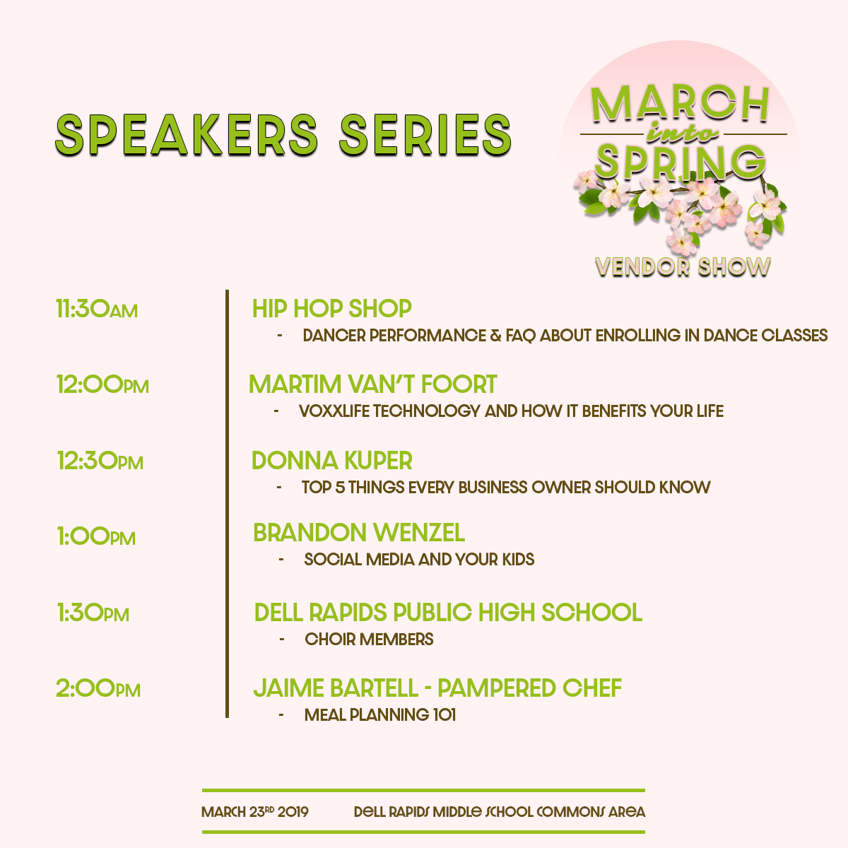 Speaker Schedule at the March Into Spring Vendor Show March 23rd 2019