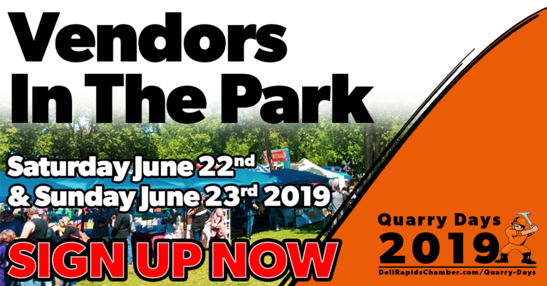 vendors in the park quarry days 2019 SIGN UP NOW dell rapids south Dakota quarry days june 21-23 2019